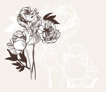engraved abstract flower vector card bakground elegant wedding celebrate vintage peony