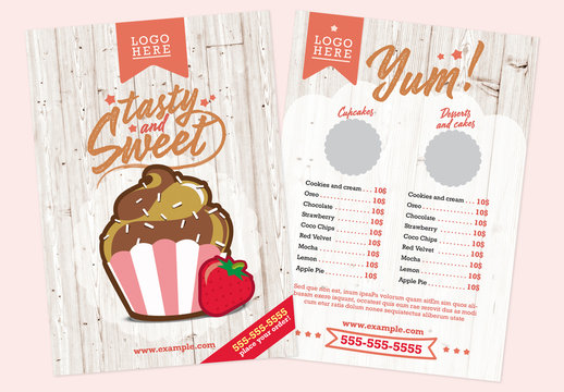 Bakery Flyer Layout with Cupcake Illustration