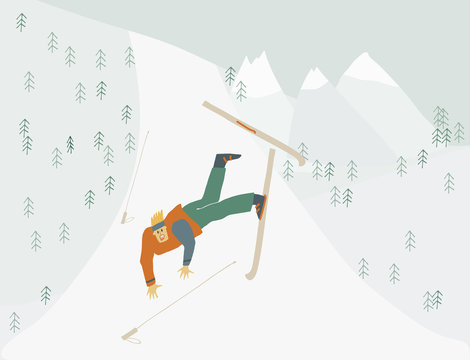 Man is learning to ski Boy falls from mountain Human figure in motion