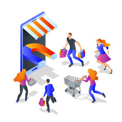 Attraction buyers business concept. Vector 3d isometric illustration. Customer engagement marketing campaign.
