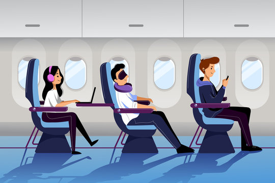 People travel by airplane in economy class. Plane interior with sleeping and working passengers. Vector flat cartoon illustration