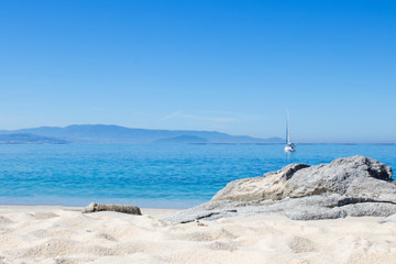 landscape of the beach with sea and sand, galicia