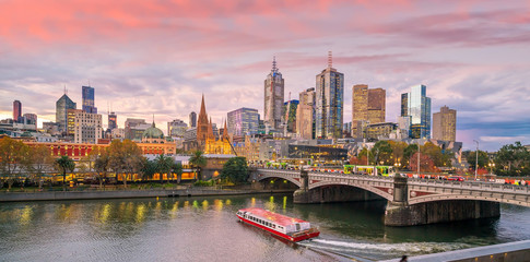 Melbourne city skyline at twilight in Australia Fototapete