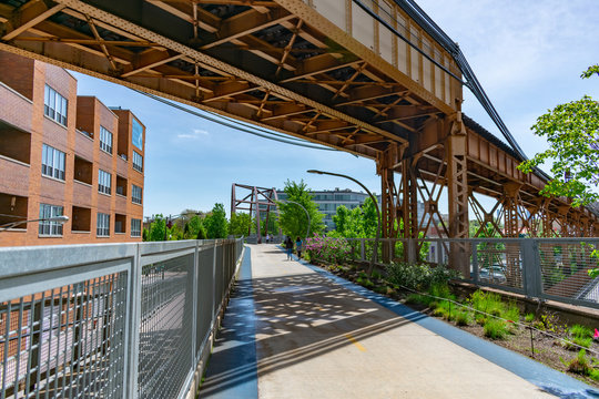 The 606 Trail in Wicker Park Chicago underneath Train Tracks