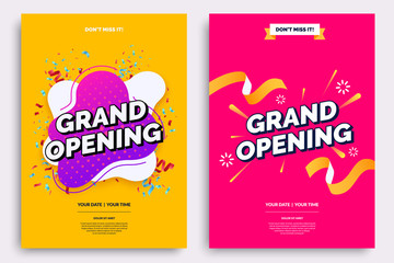 Grand opening invitationt template. Colorful creativity design with bold text, bright background and a burst of confetti. Ribbon cutting ceremony. Vector illustration.