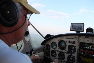 cockpit of aircraft with active senior private pilot flying