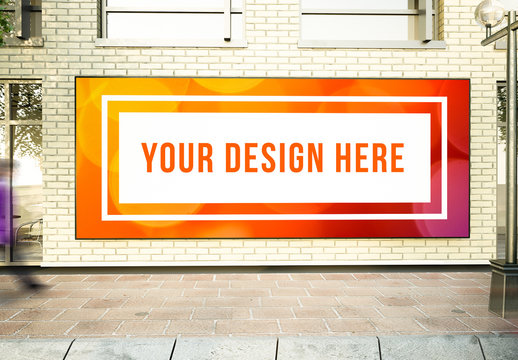 Large Horizontal Poster on Wall on Street Mockup