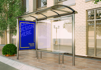 Vertical Poster on Bus Stop Mockup