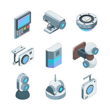 Secure cam isometric. Cctv home security cameras electronic systems vector 3d illustrations. Technology security, video system control