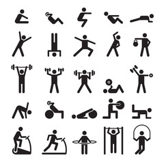 Fitness pictogram. Characters doing exercises sport figures vector icons and symbols. Fitness exercise, sport workout training illustration