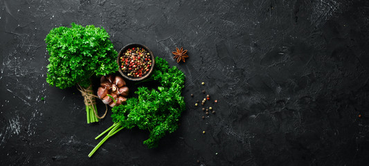 Wall Mural - Parsley, spices and herbs. On a black stone background. Top view. Free space for your text.