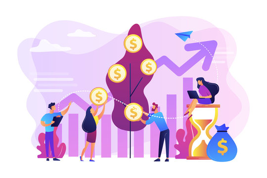 Money investing, financiers analyzing stock market profit. Portfolio income, capital gains income, royalties from investments concept. Bright vibrant violet vector isolated illustration