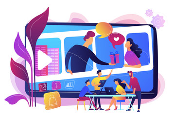 Video chatting, Internet hosting. Market tendencies analyzing. Visual storytelling, eye-catching design trend, best visual communication concept. Bright vibrant violet vector isolated illustration
