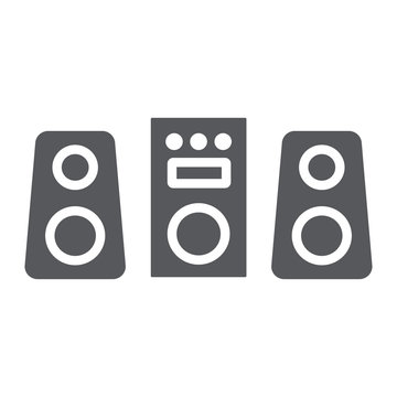 Sound system glyph icon, party and music, stereo system sign, vector graphics, a solid pattern on a white background.