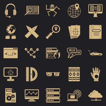 Things to study icons set. Simple set of 25 things to study vector icons for web for any design