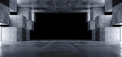 Futuristic Concrete Grunge Reflective Dark Empty Tunnel Corridor Spaceship Alien Underground White Glow Window Lights Hall Garage 3D Rendering
