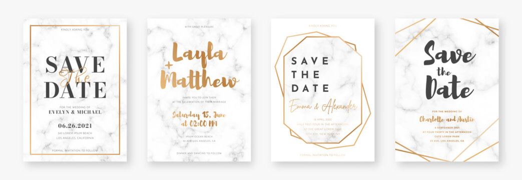 Wedding card design with golden frames and marble texture. Set of wedding announcement or invitation design template with geometric patterns and luxury background