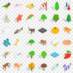 Forest icons set. Isometric style of 36 forest vector icons for web for any design
