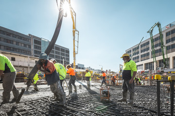 View of people working on construction site