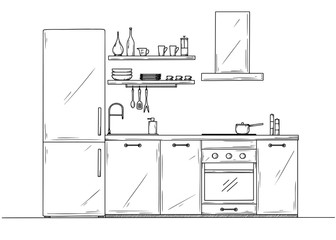 Sketch of the kitchen, front view. Vector