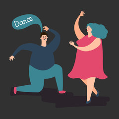 Happy plump woman and man dance vector. Cute fat dancing couple illustration. Happy people woman and man dance