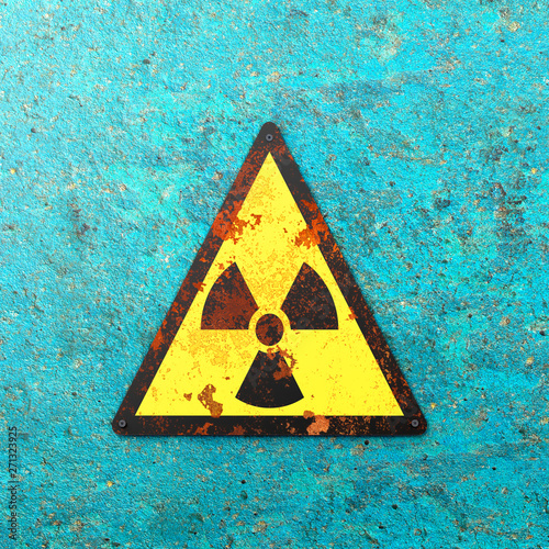 Warning sign indicating the presence of a radioactive area, nuclear