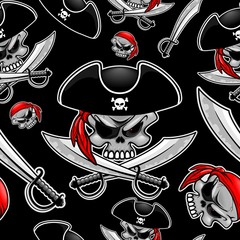 Skull Pirate Captain with Crossed Sabers Vector Seamless Pattern