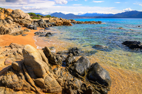 France, Corsica, Propriano, rocky seafront