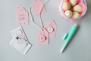 Pink Easter Gift tags on the desk from above