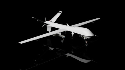 War drone 3d rendering, isolated on a black background Wall mural