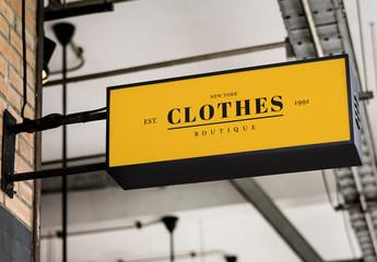 Rectangle Yellow Shop Sign Mockup