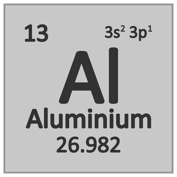 Periodic table element aluminium icon.