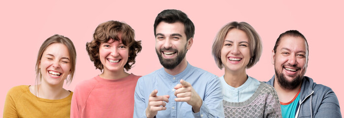 Happy people faces set. European men and women laughing on funny joke having good mood.