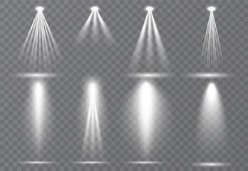 In de dag Licht, schaduw Large set of scene illumination, transparent effects. Bright lighting with spotlights collection.