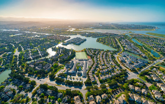 Aerial view of residential real estate homes in Foster City, CA