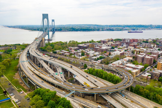 Aerial view of the Verrazzano-Narrows bridge in Brooklyn and Staten Island.