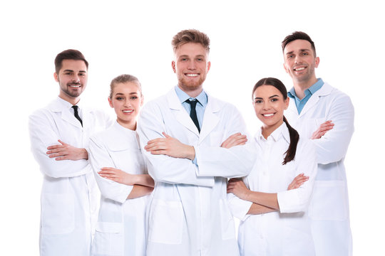 Group of medical doctors isolated on white. Unity concept