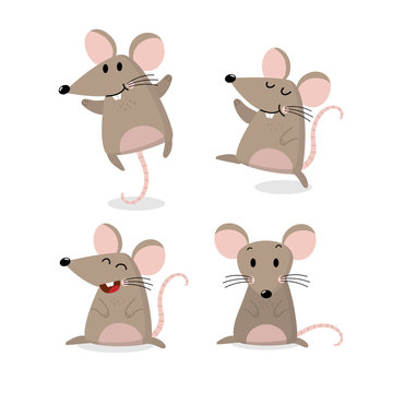 Cute mouse vector set. Little rat has long tail collection.  Animal wildlife cartoon character.