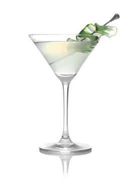 Glass of tasty martini with cucumber on white background