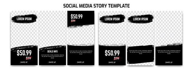 editable Instagram story social media for sale discount and product promotion with abstract dry brush ink background Fototapete