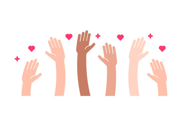 Raised helping hands vector flat icon. Illustration for volunteer and charity work in flat style with arms and geometric elements, hearts.  Crowd of people ready and available to help and contribute.  Fotoväggar