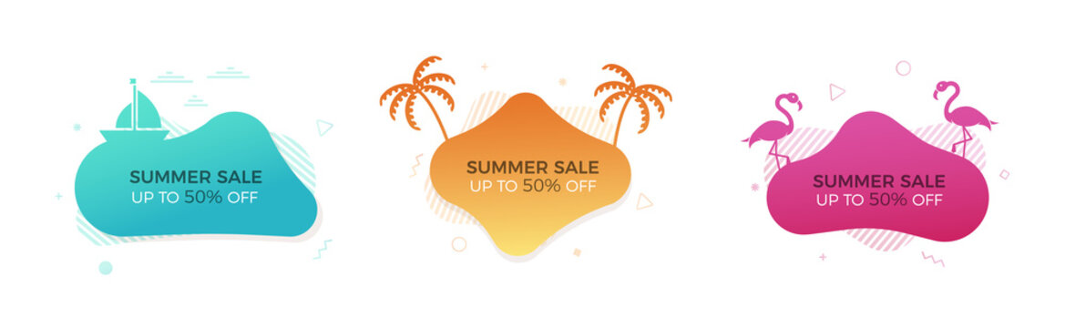 Set of trendy colorful summer sale banners with thematic elements. Vector geometric template liquid and wavy shapes in different colors. Modern abstract tropical and seasonal banner designs