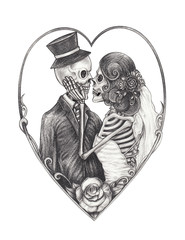 Art Couple Wedding Skulls. Hand drawing on paper.