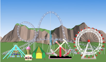Amusement Park Vector With a white background