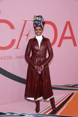 Model Halima Aden arrives for the 2019 CFDA Awards at The Brooklyn Museum in New York