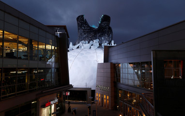 """A prop promoting the film """"Godzilla: King of the Monsters"""" is pictured on the roof of the Cinerama Dome theatre in Los Angeles"""