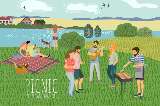 Picnic. Cute Vector illustration of mans and womans resting on the nature against the background of the rural landscape . Drawing by hand active people weekend with a barbecue.