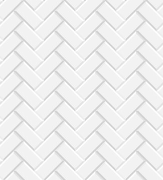 White glossy subway tiles herringbone wall seamless pattern, vector
