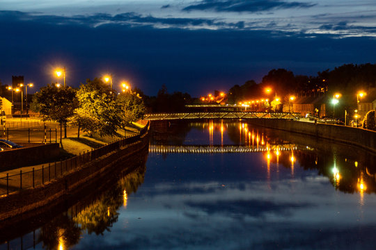 City Kilkenny on the River Nore by night. Ireland