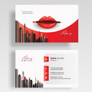 Make Up Artist business card set. Cosmetic products vector illustration for template, banner or booklet design.
